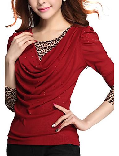 Polyester Store størrelser T-skjorte - Leopard Lapper Dame