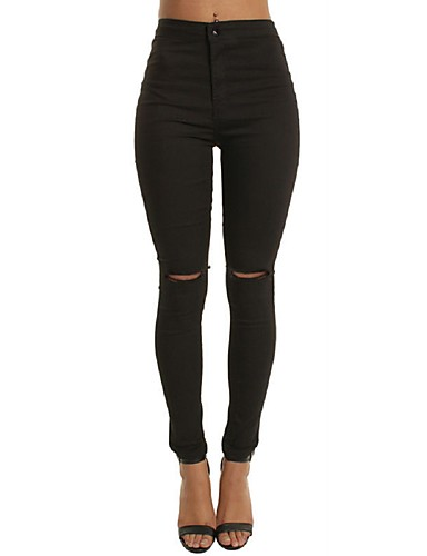 Women's Skinny Jeans Pants - Solid High Rise