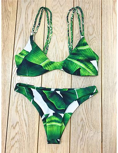 Dame Grime Bikini - Trykt mønster Tropisk blad