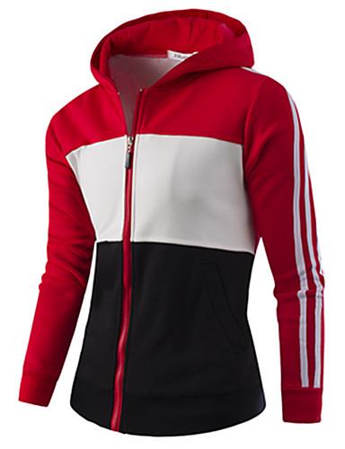 Hombre Deportes Activo La chaqueta con capucha Bloques Escote Chino