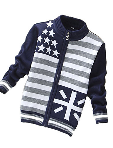 Casual/Dagelijks-Geometrisch-Wol-Winter-Girl's-Trui & Vest-Blauw / Grijs