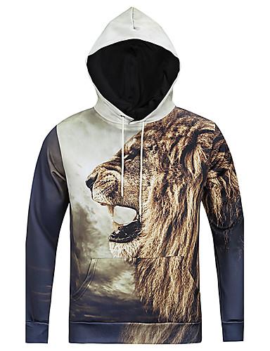Heren Eenvoudig Casual/Dagelijks Trui met capuchon Luipaard Ronde hals Micro-elastisch Polyester Lange mouw Herfst