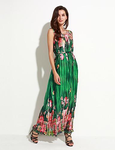 קיץ פוליאסטר ללא שרוולים מקסי צווארון עגול פרחוני בוהו חגים מידות גדולות שמלה שיפון נשים,גיזרה גבוהה מיקרו-אלסטי