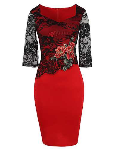 Women's Plus Size Work Chinoiserie Street chic Sheath Dress - Solid Colored, Embroidery High Rise V Neck