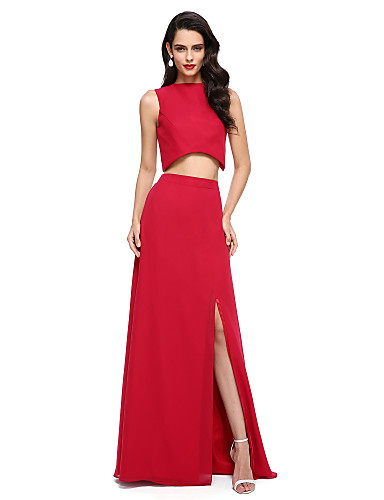 billige Todelte kjoler-Tube / kolonne / Todelt Besmykket Gulvlang Chiffon To deler Cocktailfest / Skoleball / Formell kveld Kjole med Delt front av TS Couture®
