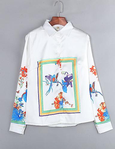 Nais- Pitkähihainen Keskipaksu Paitapuserokaula-aukko Polyesteri Kaikki vuodenajat Vintage Bile Paita,Painettu Valkoinen / Oranssi