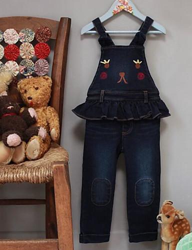 Para Meninas Jeans Casual Cor Única Outono Inverno Algodão