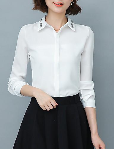 Feminino Camisa Casual / Trabalho Moda de Rua Todas as Estações,Letra Branco Raiom / Poliéster Colarinho de Camisa Manga Longa Fina
