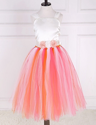 Ball Gown Ankle Length Flower Girl Dress - Polyester Tulle Sleeveless Jewel Neck with Flower