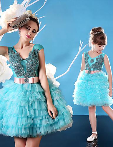 De Baile Scoop pescoço Curto / Mini Tule Charmeuse Coquetel Vestido com Miçangas Renda Faixa / Fita de Huaxirenjiao
