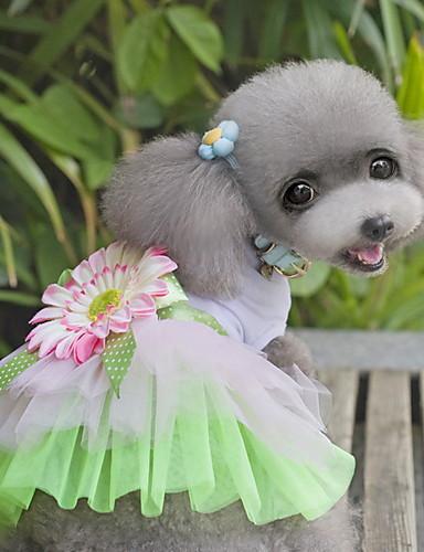 Кошка Собака Платья Одежда для собак Цветы Зеленый Розовый Ткань Костюм Для домашних  животных Жен. Очаровательный Мода c02f5bef2966d