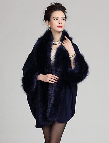 Dames Grote maten Vintage Lang Cloak / Capes Patchwork-Blauw Rood Beige Zwart Paars V-hals Lange mouw Wol Acryl Winter Medium