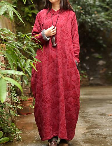Mujer Tejido Oriental Corte Ancho Vestido Jacquard Maxi Escote Chino / Invierno