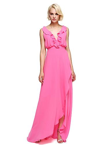 Eng anliegend V-Ausschnitt Asymmetrisch Georgette Brautjungfernkleid mit Rüschen durch LAN TING BRIDE®