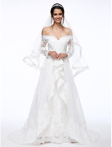 Corte en A Hombros Caídos / Escote en V Larga Organza / Encaje floral Vestidos de novia hechos a medida con Cuentas / Apliques / Flor por