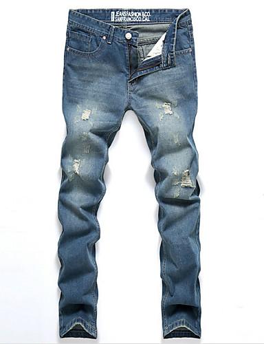 メンズ ヴィンテージ ストリートファッション ミッドライズ マイクロエラスティック ストレート ルーズ ジーンズ パンツ プリーツ ソリッド
