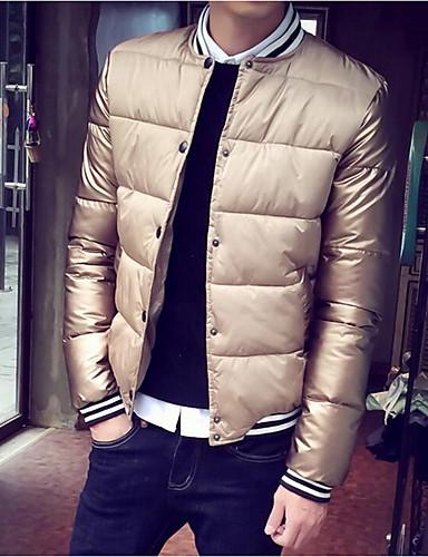 コート レギュラー パッド入り メンズ,カジュアル/普段着 ソリッド コットン ポリエステル ポリプロピレン-シンプル 長袖 スタンド