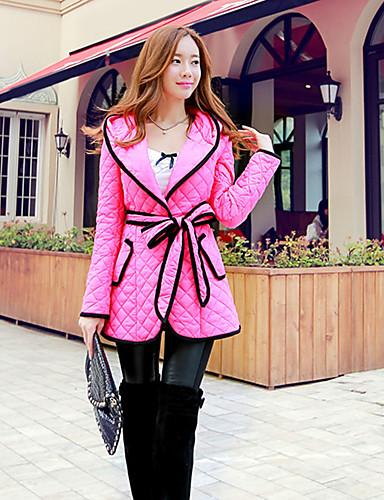 여성의 솔리드 후디 긴 소매 코트 핑크 면 / 폴리에스테르 / 스판덱스 겨울 두꺼움