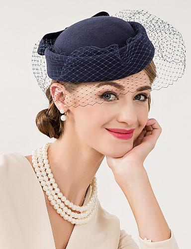billige Hatte & Imponeringer-Ull / Nett Kentucky Derby Hat / fascinators / Hatter med Blomster 1pc Bryllup / Spesiell Leilighet / Avslappet Hodeplagg