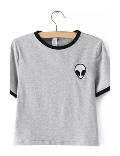 Bomull T-skjorte Dame - Stripet, Blomst / Sommer