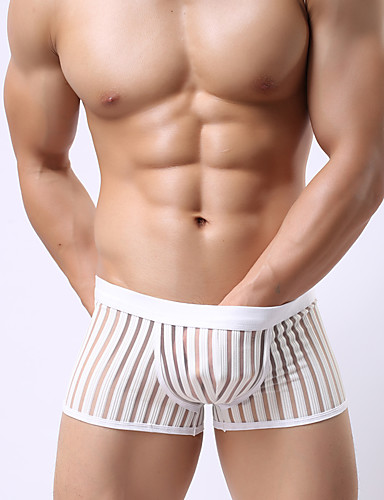 Herre Sexy Boxer Formende truse Ultrasexy truse Ensfarget Stripet Lavt liv