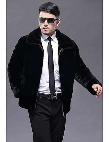 男性 お出かけ / カジュアル/普段着 冬 ソリッド ファーコート,ヴィンテージ / シンプル スタンド ブラック フェイクファー 長袖 厚手
