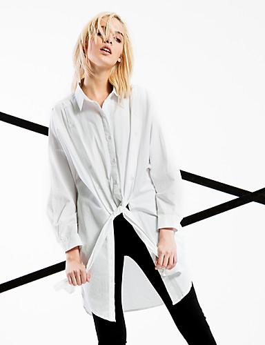 Bomull Hvit Medium Langermet,Skjortekrage Skjorte Ensfarget Vår / Høst Enkel / Gatemote Ut på byen / Fritid/hverdag / Strand Dame