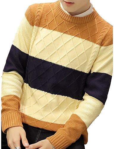 Normal Pullover Klubb / Ut på byen / Fritid/hverdag Vintage / Enkel / Gatemote Herre,Ensfarget / Stripet Blå / Rød / Brun / OransjeRund