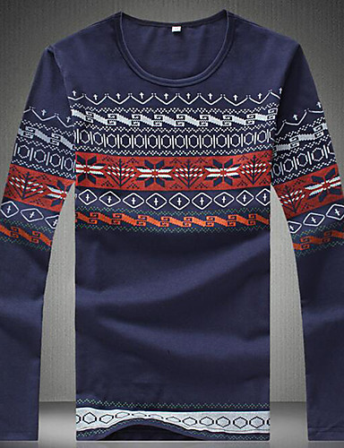 Bomull Medium Langermet,Rund hals T-skjorte Ensfarget Høst Sexy Søt Chinoiserie Klubb Formelle Arbeid Herre