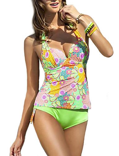 Kvinner Blomstret Halter Bikinikjole Polyester