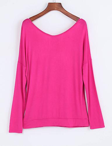 Langærmet V-hals Solid Damer Ensfarvet Forår Efterår Simple Afslappet/Hverdag T-shirt,Polyester