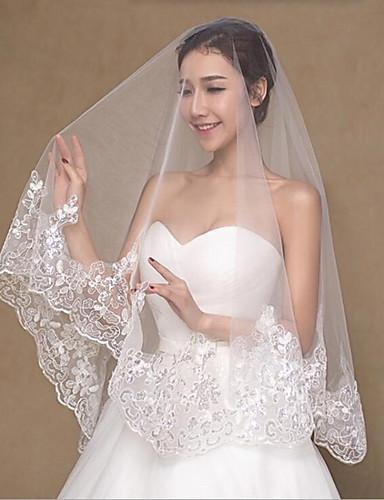 Duas Camadas Casamento Véus de Noiva Véu Ponta dos Dedos / Véus de Noiva Com Renda Princesa