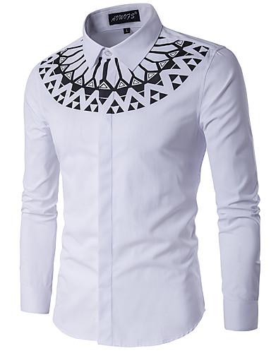 Hombre Algodón Camisa, Cuello Mao Delgado Geométrico / Manga Larga