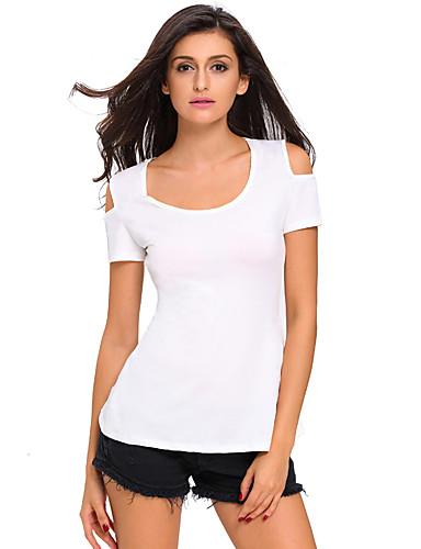 Naisten Polyesteri Spandex Pitsi Koverrettu T-paita, Yhtenäinen