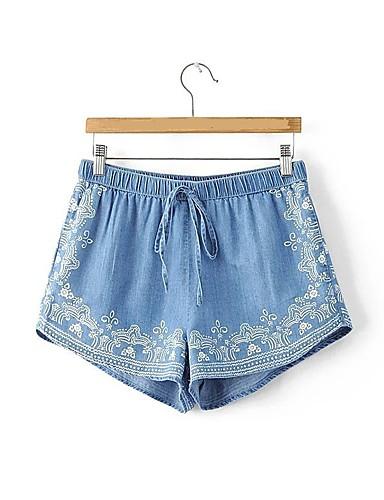 Dame Uelastisk Shorts Jeans Bukser,Rett Mellomhøyt liv Trykt mønster