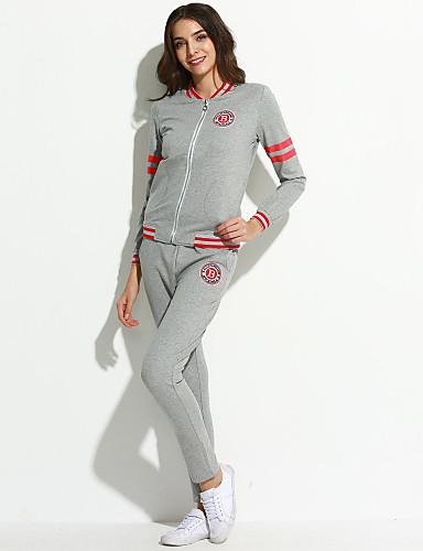 Damer I-byen-tøj Afslappet/Hverdag Simple Aktiv Gade Plusstørrelser Aktiv beklædning sæt Ensfarvet Rund hals Bomuld Mikroelastisk