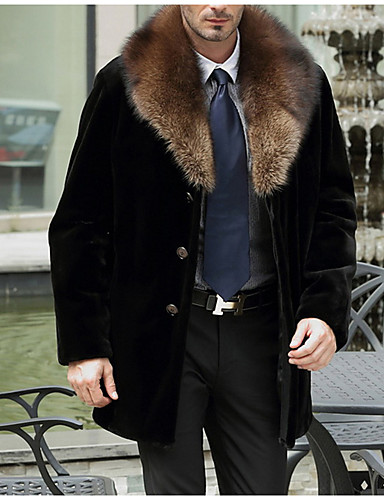 男性 お出かけ 冬 ソリッド ファーコート,ヴィンテージ / シンプル ラウンドネック ブラック フェイクファー 長袖 ミディアム