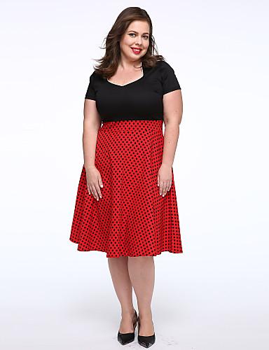 Women's Going out Vintage Plus Size Swing Knee-length Dress, Polka Dot Color Block V Neck Short Sleeves Spring Summer Fall