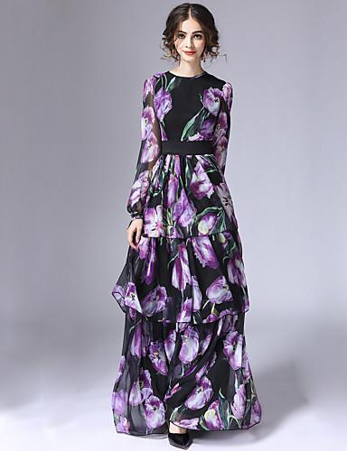 女性用 シース ドレス - レイヤード, フラワー マキシ