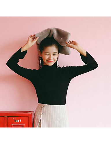 Normal Pullover Fritid/hverdag Enkel Dame,Ensfarget Sort Turtleneck Langermet Akryl Vinter Medium Mikroelastisk
