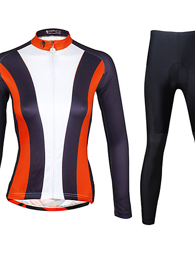 cheap Cycling Clothing-ILPALADINO Women's Long Sleeve Cycling Jersey with Tights - Black Plus Size Bike Clothing Suit Breathable 3D Pad Quick Dry Ultraviolet Resistant Reflective Strips Sports Lycra Vertical Stripes