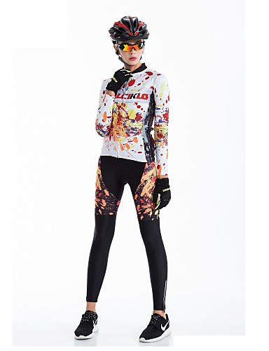 cheap Cycling Clothing-Malciklo Women's Long Sleeve Cycling Jersey with Tights - Black Bike Tights Breathable 3D Pad Quick Dry Back Pocket Winter Sports Coolmax® Lycra Graffiti Mountain Bike MTB Road Bike Cycling Clothing