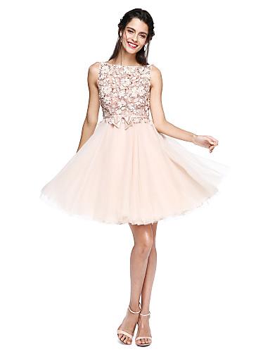 A-الخط باتو طول الركبة تول انظر من خلال حفلة كوكتيل فستان مع زينة / شريطة بواسطة TS Couture®
