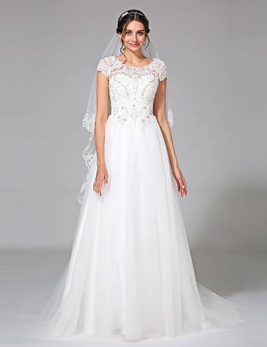 גזרת A עם תכשיטים שובל קורט טול שמלת חתונה עם חרוזים אפליקציות על ידי LAN TING BRIDE®