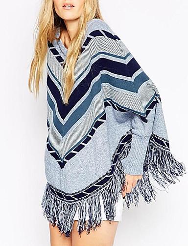 Normal Cloak / Capes Ut på byen Vintage Dame,Stripet Blå Rund hals Langermet Polyester Høst Medium Mikroelastisk