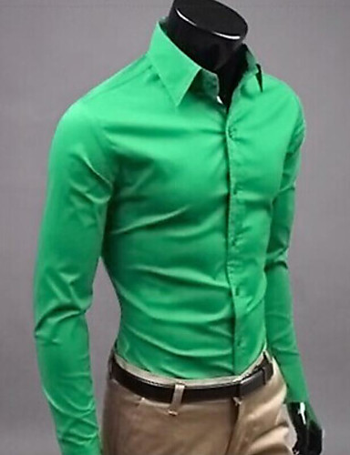 cheap Men's Shirts-Men's Wedding Formal Work Business / Street chic Slim Shirt - Solid Colored Yellow XL / Long Sleeve