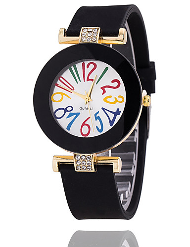 Mujer Reloj Pulsera Gran venta Silicona Banda Vintage / Casual / Moda Negro / Blanco / Azul