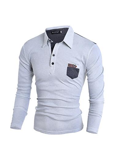 Nylon Medium Langermet,Klassisk krage Skjorte Ensfarget Alle sesonger Sexy Søt Gatemote Formelle Arbeid Klubb Herre