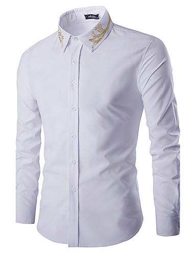 Homens Camisa Social Sólido Algodão Colarinho Clerical