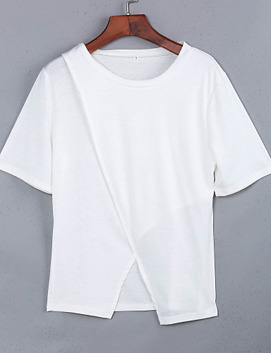 Nais- Lyhythihainen Ohut Pyöreä kaula-aukko Puuvilla Kesä Katutyyli Bile T-paita,Yhtenäinen Valkoinen / Musta